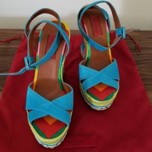 "Valentino ""1973 Chevron Stripe"" Wedge Heels"